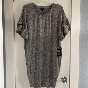 Express Marled Gray Ruffle Sleeve Tunic Dress